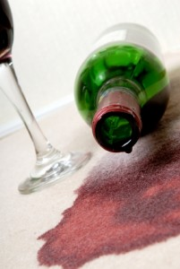 red wine stained carpet in holiday home